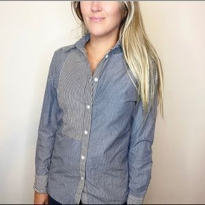 reiss / cotton long sleeve striped button down top